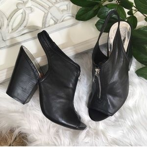 Vince Camuto Peep Toe high heel zip booties black